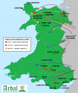 Wales map - Roman Invasion 3 (welsh)